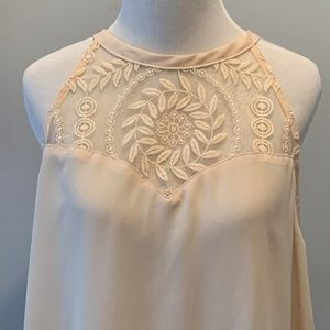 Elodie Crochet Cream Sleeveless Top ~ Large